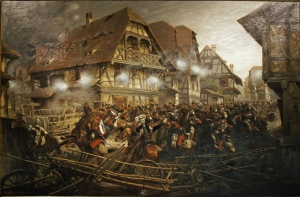 Massacre des cuirassiers dans le village de Morsbronn lors de la bataille de Reishshoffen (E. Detaille domaine public)