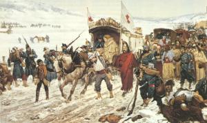 la retraite de l'armée de l'Est du general Bourbaki pendant la guerre franco-allemande de 1870 (Edouard Castres domaine public)